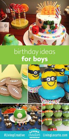 Cute food Ideas for a Boy Birthday Party! The kids will love these fun and delicious birthday desserts.