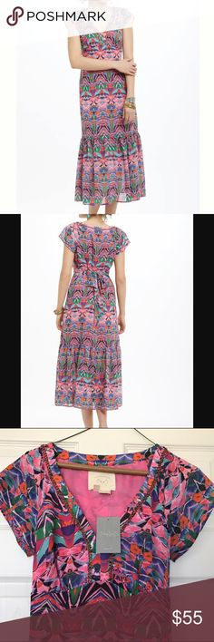 """Beautiful NWT Vanessa Virginia Mural Maxi Dress NWT Vanessa Virginia Mural Maxi Dress has a beautiful feel and fit that is perfect for spring and summer. I'm just too small chested to do it justice. Beautiful colors and beaded detailing around the neck line. 100% Polyester, 50"""" Length. From a pet and smoke free home. Anthropologie Dresses"""