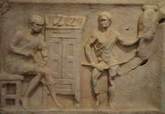 Front of the sarcophagus of Titus Flavius Trophimas with scenes of craftsmen at work, a shoemaker and a rope-maker, found in Ostia, National Museum of Rome, Baths of Diocletian.  by Following Hadrian, Flickr