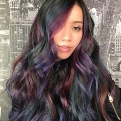 Opal oil slick hair color, Oil slick hair is that the trend that appeared once hair colorists checked out the swirls of gasoline within the water . Oil Slick Hair Color, Cool Hair Color, Slick Hairstyles, Pretty Hairstyles, Hairstyle Ideas, Hair Ideas, Hair Color 2017, Galaxy Hair, Ombré Hair