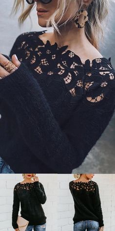 Asymmetric Neck Decorative Lace Plain Sweaters Fall and winter special clothes for women, interesting printed and comfy material clothes you can't miss in fall and winter. Mode Outfits, Fall Outfits, Casual Outfits, Fashion Outfits, Womens Fashion, Fashion Fashion, Winter Girl, Vetements Clothing, Diy Kleidung