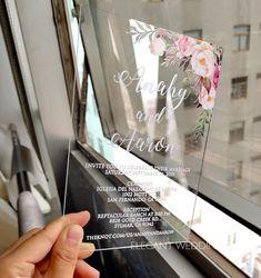 boho blush floral Acrylic wedding invitation thickness with UV printing , Acrylic Wedding Invitations, Elegant Wedding Invitations, Wedding Invitation Cards, Bridal Shower Invitations, Wedding Cards, Floral Invitation, Colored Envelopes, Reception Card, Response Cards