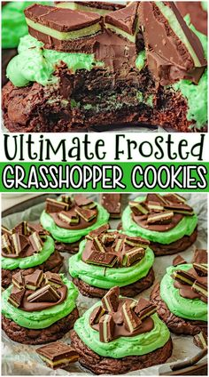Grasshopper cookies are fudgy brownie cookies stuffed with a Mint Oreo and topped with the ultimate mint chocolate frosting! Indulgent mint chocolate cookies perfect for the holidays. #mint #cookies #chocolate #grasshopper #baking #easyrecipe from FAMILY COOKIE RECIPES