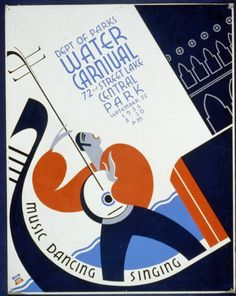 Water Carnival - art, wpa, federal art project, vintage, vintage posters, retro prints, classic posters, free download, graphic design, Dept of Parks Water Carnival, Music, Dancing, Singing - Vintage Concert Events Poster
