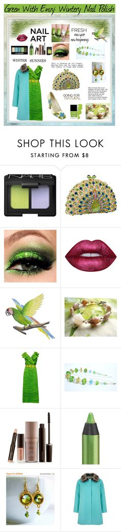 """""""Green With Envy: Wintery Nail Polish"""" by belladonnasjoy ❤ liked on Polyvore featuring beauty, NARS Cosmetics, Lime Crime, NOVICA, Sybil Connolly, Butter London, Laura Mercier, Urban Decay, Yumi and Prada"""