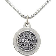 """St Florian Pendant Necklace """"Patron Saint of Firefighters"""" Fire Fighters gift"""