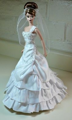 """""""Bridal Boutique"""", white single-shoulder, beaded, ruffled with side rouching detail wedding gown by Donna's Doll Designs"""