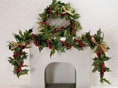 Dollhouse Miniature Christmas Wreath n Swag Garland Set Red Gold One Inch Scale. $38.00, via Etsy.