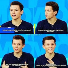 If I went to a high school and either Tom Holland or Peter Parker was there, I would say yes to him without question! Funny Marvel Memes, Dc Memes, Marvel Jokes, Funny Memes, Hilarious, Meme Meme, Marvel Actors, Marvel Dc, Shane Mendes