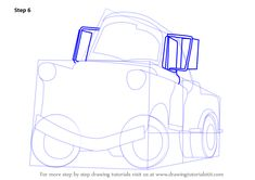 Step by Step How to Draw Tow Mater from Cars : DrawingTutorials101.com