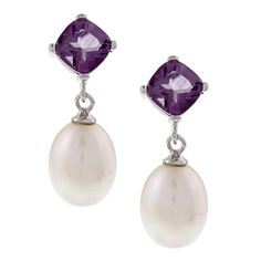 DaVonna Silver FW Pearl and Amethyst Dangle Earring