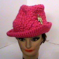 Crochet Pink Fedora Hat