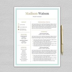 Contemporary Resume Templates Modern Resume Template Professional Resume Cv For Word And Pages .