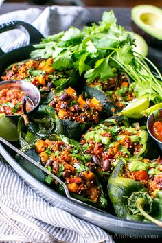 Fabulous for weekend or weeknight. Roasted Stuffed Poblanos with Smoky Quinoa, Sweet Potatoes and Black Beans Vegan + Gluten Free Healthy Mexican Recipes, Good Healthy Recipes, Whole Food Recipes, Vegetarian Recipes, Vegetable Recipes, Delicious Recipes, Free Recipes, Stuffed Poblanos, Stuffed Poblano Peppers