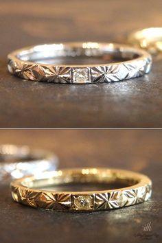 プリンセスカットのダイヤモンドをお揃いで留めたマリッジリング。男性はプラチナ、女性はゴールドでお仕立てしました。 [marriage,wedding,ring,bridal,K18,PT90,マリッジリング,結婚指輪,オーダーメイド,プリンセスカット,ダイヤモンド,ウエディング,ith,イズマリッジ]
