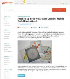smashingmagazine.com homepage for desktop, responsive, clean, spacious, modern, interesting, informative, useful