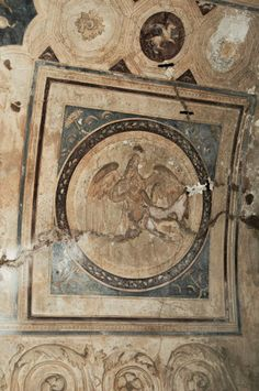 The abduction of Ganymede. Fragment of ceiling plaster stucco in south-east corner of tepidarium. 1st century CE. Pompeii, Forum Thermae.