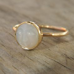 White Moonstone Face in Recycled 14k Yellow Gold, Made To Order In Your Size on Etsy, $598.00