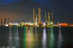 Galveston Island harbor, looking toward Pelican Island
