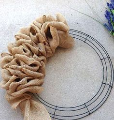 burlap wire wreath frame idea                                                                                                                                                     More