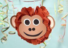 Pompon, Affengesicht, Dschungel-Party, Krepp-Papier, Basteln mit Kindern, Kindergeburtstag, produziert für tambini.de
