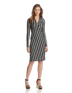 KAMALIKULTURE Women's Long Sleeve Side Draped Dress Black/OffWhite