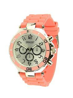 Ernest Horloge Zilver - Koraal is een prachtig zilveren horloge met een koraal kleurige kunststoffen band en een zilveren wijzerplaat.