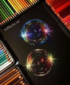 Amazing Drawings, Cool Drawings, Pencil Drawings, Amazing Art, Unique Drawings, Bubble Drawing, Coloured Pencils, Color Pencil Art, Black Paper