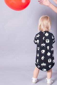 SUKIENKA DZIECIĘCA MONSTERY CZARNA - mamatu - Ubranka dla dzieci
