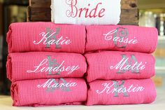 "This Personalized Waffle Weave Robe is perfect for your entire bridal party! You'll all love the adorable ""getting ready"" pictures! Get it with titles on the back and initials on the front. Or you can do just titles, or initials only"