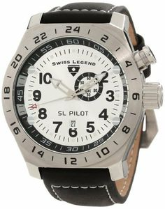 Swiss Legend Men's 22827-02S SL Pilot Silver Dial GMT Watch Swiss Legend. Save 86 Off!. $91.24. Swiss quartz movement. Water-resistant to 100 M (330 feet). 60 second subdial at 2:00; date function at 6:00. Mineral crystal with sapphire coating; stainless steel case; black leather strap with contrast stitching. Silver dial with silver tone hands and black arabic numerals; luminous; gmt function; screw-down crown
