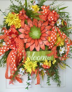 Welcome Spring or Summer Yellow and Orange Mesh Wreath by WilliamsFloral on Etsy https://www.etsy.com/listing/228952202/welcome-spring-or-summer-yellow-and