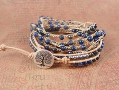 leather wrap and crocheted bracelet