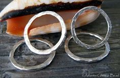 AGB artisan jewelry findings handmade sterling silver 15mm textured rings Ariston 2 pieces