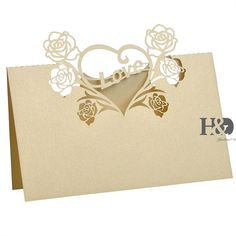 2 Color Love Heart Laser Cut Paper 3.5*3.5inch Name Place Table Invitation Card Party Wedding Favors Decorations