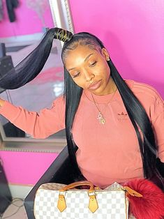 Long hair will always be in fashion. You can create so many different varieties of hairstyles when you have hair that's below the shoulders or longer, in comparison to shorter hair that limits you … Baddie Hairstyles, Black Girls Hairstyles, Weave Hairstyles, Pretty Hairstyles, Ponytail Hairstyles, Hairdos, Updos, Ponytail Styles, Sleek Ponytail