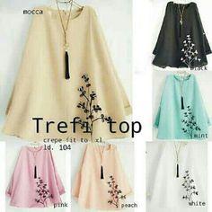 Model Baju Atasan Muslim Trefi Blouse Crepe Bordir - http://bajumuslimbaru.com/baju-atasan-muslim-trefi-blouse-crepe-bordir
