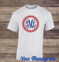 Baseball Monogram Shirt Baseball Stitch by JoniAlexisDesigns