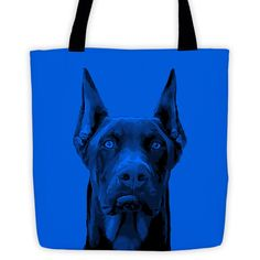 Doberman Pinscher Duotone Comic Blue All-Over Tote Bag