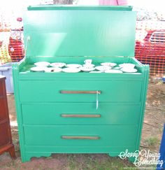 Savvy Young Something: Hinged-Top Waterfall Dresser - would be awesome to hold my paint supplies in garage