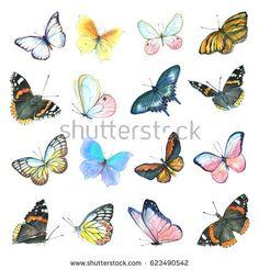 A large set of watercolor butterflies. Handmade