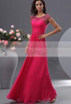 Robe de soirée coupe princesse aux épaules recouvertes d'un fin voile de mousseline et de strass 3333