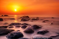 Photo print of a beautiful sunset near the rocks on the Baltic Sea, Estonia, art landscape photography, print to frame for a wall, Estonia