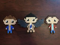 Supernatural Sam, Dean, and Cas Perler by on DeviantArt Melty Bead Designs, Melty Bead Patterns, Perler Patterns, Weaving Patterns, Pearler Beads, Fuse Beads, Geek Perler, Hama Beads Design, Perler Bead Templates