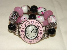 Pink and Black Chunky Beaded Watch Band and Face  by BeadsnTime, $30.00
