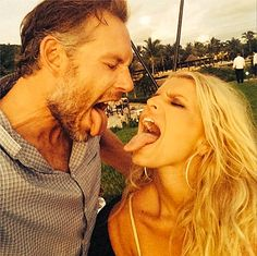 Jessica Simpson and her husband Eric Johnson stick out their tongues in a new Instagram photo!
