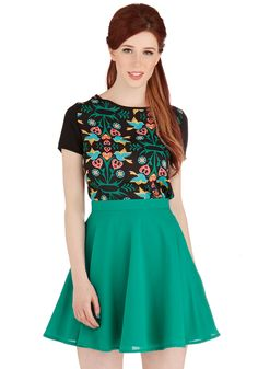 Drive-In Me Wild Skirt. A convertible, a cute flick, and this flared skirt - we cant think of anything that sounds more crazy-fun! #green #modcloth