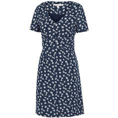 Women's Crew Clothing Willow Tea Dress ($46) ❤ liked on Polyvore featuring dresses, line dress, floral print dress, blue floral dress, v neck dress and floral tea dress