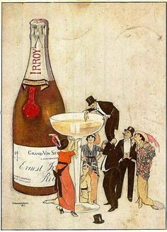vintage illustration | Irroy champagne ad, 1913 Vintage Champagne, Vintage Wine, Vintage Tags, Vintage Labels, Vintage Posters, Vintage Cocktails, Wine Poster, In Vino Veritas, Illustrations And Posters