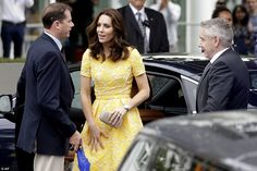The Duchess of Cambridge  arrives with her husband  at the German Cancer Research Centre in Heidelberg,